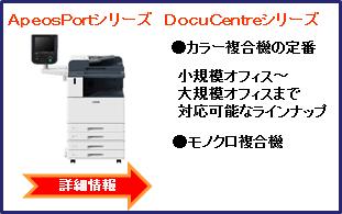ApeosPortシリーズ DocuCentreシリーズ ●カラー複合機の定番 小規模オフィス~大規模オフィスまで対応可能なラインナップ ●モノクロ複合機